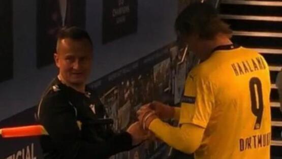 Şampiyonlar Ligi maçında hakem Haaland'dan imza aldı