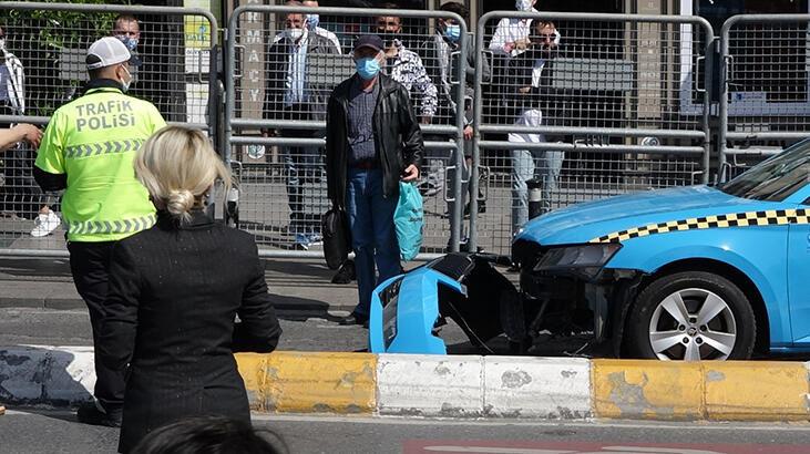 Taksim'de taksi çekiciden düştü, sürücüsü çılgına döndü
