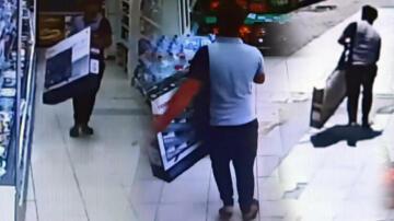 Marketten çaldığı televizyonu sokakta bırakıp kaçtı