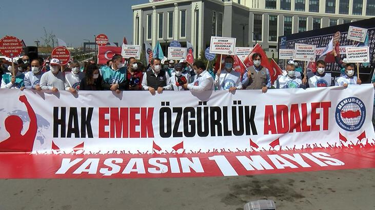 Memur-Sen, '1 Mayıs'ı Ankara Şehir Hastanesi önünde kutladı