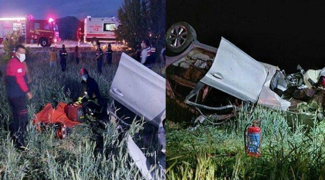 Tarlaya uçan otomobilde 2 kişi öldü, 2 kişi yaralandı